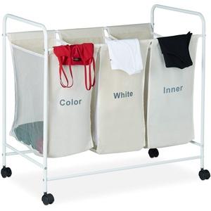 Relaxdays Wäschesortierer, 3 beschriftete Fächer, Rollen zum Feststellen, Volumen 100 Liter, HxBxT 76 x 80 x 46cm, beige, 1 Stück