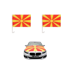 Sonia Originelli Fahne Auto Fan-Paket Haubenfahne Fensterfahnen Spiegelfahnen Magnetflaggen Nordmazedonien North Macedonia, Fanartikel für das Auto in Nordmazedonien-Farben Fanset-10