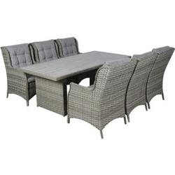 Oris 6+1 Polyrattan Sitzgruppe Gartenmöbel Garnitur Tisch Stuhl Essgruppe Garten