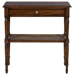 Casa Padrino Luxus Jugendstil Nachtkommode Braun 71 x 28 x H. 76 cm - Eleganter Massivholz Nachttisch - Beistelltisch mit Schublade und Rattan Regal - Schlafzimmer Möbel