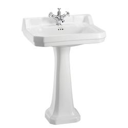 Casa Padrino Luxus Porzellan Waschbecken mit Sockel 61 x 51 x H. 90 cm - Antik Stil Waschbecken