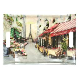 Lashuma Tablett Paris, Melamin, Bedrucktes Geschirrtablett, Desserttablett eckig mit Griffen bunt 38 cm x 27 cm x 3 cm