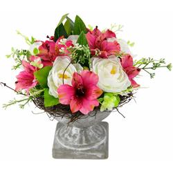 Kunstpflanze Gesteck Ranunkel in Pokal Ranunkel, I.GE.A., Höhe 19 cm rosa