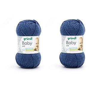 2er Set Babywolle uni, Gründl, 2x 50 g, weich und pflegeleicht, (11 jeans)