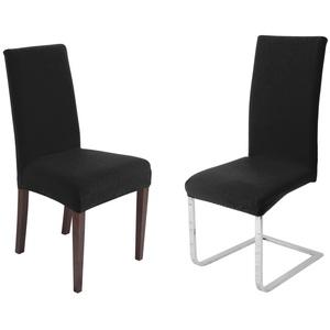 Stuhlhusse Universal Stretch Stuhlhussen Sets von Beautex, elastische Husse Bi-Elastic, Simple, Farbe wählbar, Beautex schwarz