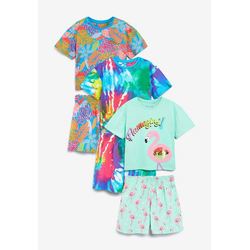 Next Pyjama Pyjamas mit Batik/Paillettenflamingo, 3er-Pack (6 tlg) Short Set 128