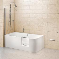 Ottofond Dusch-Badewanne Free-Gate mit Tür rechts mit Ablaufgarnitur mit Wassereinlauf Weiß 180 x 80 x 46,5 cm