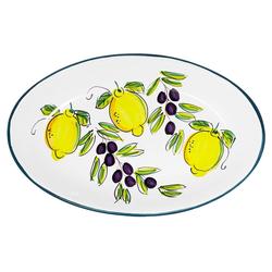 Lashuma Servierplatte Zitrone Olive, Keramik, Salatplatte oval, handgemachter Servierteller 22 cm x 36 cm x 5 cm