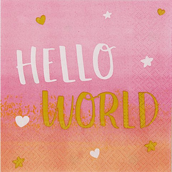 "Servietten ""Hello World"" in Rosa"