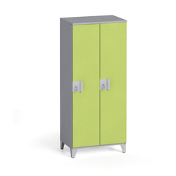Zweiteiliger kleiderschrank 1400 x 600 x 400 mm, grau/grün