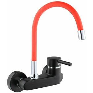 ATCO® Wandarmatur schwarz-rot FLEXO Spültischarmatur Küchenarmatur Schwenkbar