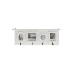 elbmöbel Bilderrahmen Kleiderhaken mit Bilderrahmen Herz Garderobe weiß, für 4 Bilder, Garderobe: Bilderrahmen 55x20x5 cm weiß Vintage Look