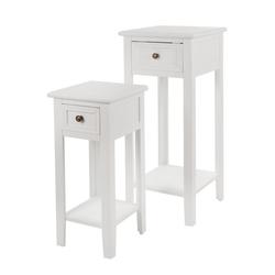 elbmöbel Telefontisch 2x Telefontisch Set Tisch weiß, Beistelltisch: 2er Set 33x80x33 cm weiß Landhausstil