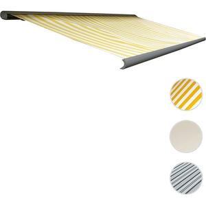 Elektrische Kassettenmarkise T122, Markise Vollkassette 4x3m ~ Polyester Gelb/Weiß, Rahmen grau