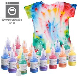 18er-Set Textilfarben in Gelb, Orange, Rot, Lila, Blau, Grün, je 30 ml