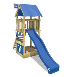 Wickey Klettergerüst Spielturm Smart Club mit blauer Rutsche, Kletterturm mit Sandkasten, Leiter & Spiel-Zubehör