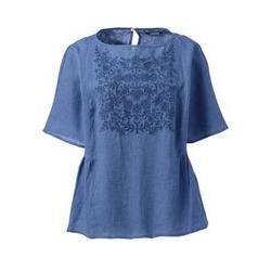 Besticktes Leinenshirt - S - Blau