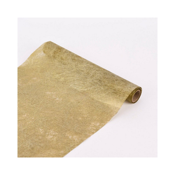 SCHÖNER LEBEN. Tischband Deko-Stoff Stoffband Tischband Vlies Geflecht goldfarbig 30x250cm, Deko-Stoff Stoffband Tischband Vlies Geflecht goldfarbig 30x250cm