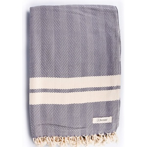 Bersuse 100% Baumwolle - Herringbone XXL Strandtuch Sofa-Überwurf - Anthrazit, 63x94 inches