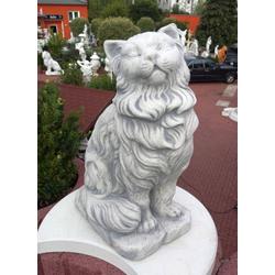 BAD-KP0318 Gartenfigur Katze niedliche Katzenfigur aus weißem Beton Werkstein 50cm 36kg Beton Steinguss Figur