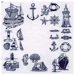 Linoows Papierserviette 20 Servietten Maritime Symbole mit Boote Anker &, Motiv Maritime Symbole mit Boote Anker & Muscheln
