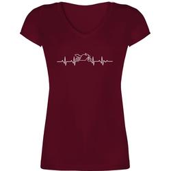 Shirtracer T-Shirt Herzschlag Motorrad - Motorräder - Damen T-Shirt mit V-Ausschnitt XS