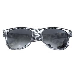 Nerdbrille Hornbrille Retro Nerd Sonnenbrille - leopard weiß / schwarz