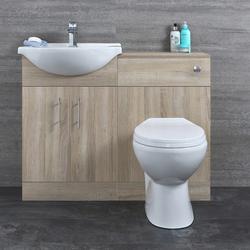 Waschtisch und Toiletten Set - Eiche 1140mm - ovale Toilette, von Hudson Reed