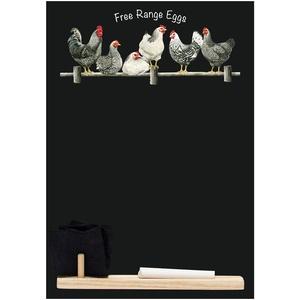 Kreidetafeln UK klein Memo Board/Kreidetafel/Tafel/Küche Kreidetafel mit Bedruckt Eier Design. Plus Tablett, Kreide & Filz Radiergummi. Von Booth Design Range, Holz, schwarz, 29,7 x 20,7 x 1 cm