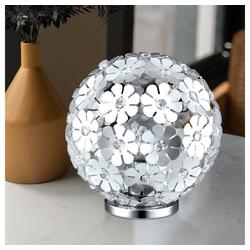 etc-shop Kugelleuchte, Tischlampe Kugelform Lampe Kugel Tischleuchte Nachtlicht Kugel, mit Blumen Dekor und klaren Kristallen, ALU Stahl, 1x E27, D 25 cm