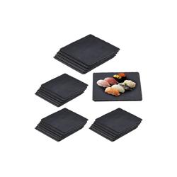 relaxdays Servierplatte 24 x Schieferplatte quadratisch, Schiefer