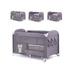 Chipolino Baby-Reisebett Reisebett Merida, Beistellbett Merida zwei Ebenen seitliche Öffnung Tasche grau