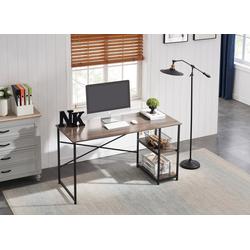 HomeGuru Schreibtisch Schreibtisch mit 2 Regale, Industrie-Design, Vintage, 110-140*60*75 cm 140 cm x 75 cm x 60 cm