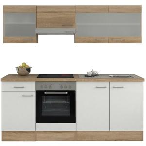 Küchenblock Einbauküche Küchenzeile mit Elektrogeräten E-Geräte Küche 210cm weiß