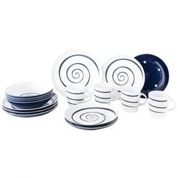 Gimex Geschirrset Twist weiß-blau 16-teilig