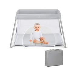 COSTWAY Babybett Reisebett Laufstall Babyreisebett Netzlaufgitter Spielstall, klappbar, mit Matratze und Tragetasche grau