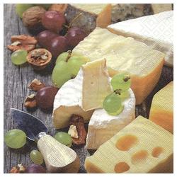 Linoows Papierserviette 20 Servietten Käse, Trauben & Walnüsse, leckeres, Motiv Käse, Trauben & Walnüsse, leckeres Käse Buffet