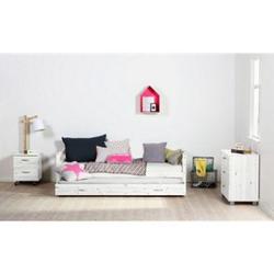 Schubladenbett Flexa 90x200 cm Kiefer weiß Jugendbett Einzelbett Funktionsbett