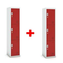 Dreitüriger schrank, zylinderschloss, 1800 x 380 x 450 mm, grau/rot,
