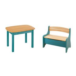 BioKinder - Das gesunde Kinderzimmer Kindersitzgruppe Levin, mit Tisch und Sitzbank, Sitzhöhe 30 cm blau