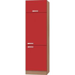 OPTIFIT Kühlumbauschrank Odense 60 cm breit, 207 cm hoch, geeignet für Einbaukühlschrank mit Nischenmaß 88 cm rot