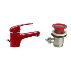 Waschtisch, Bad, Armatur, rot + Excenter rot