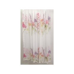 Deko Stoff Gardine Vorhang Blumen creme pink grün, Meterware