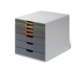 DURABLE Schubladenbox, Durable 760727 Schubladenbox A4 (Varicolor) 7 Fächer, mit Etiketten zur Beschriftung, mehrfarbig