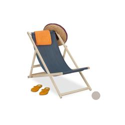 relaxdays Campingstuhl Liegestuhl Holz klappbar grau