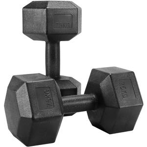 Yaheetech 2 Stück Hantel Set 7,5 Kg Kurzhanteln Gummi Gusseisen Hexagon Hanteln Gewichte Training für Aerobic, Gymnastik und Fitness