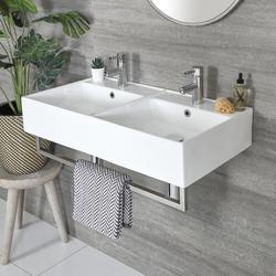 Eckiges Doppel-Hängewaschbecken Weiß 820mm x 420mm mit Handtuchhalter Chrom - San