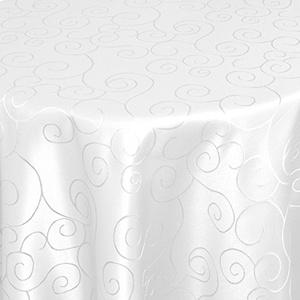 Kringel/Circle Tafeldecke Form, Größe & Farbe wählbar- Oval 135 x 180 cm - Weiss Damast Tischdecke
