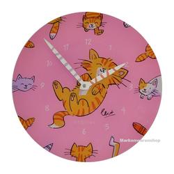 NEXTIME Wanduhr Wanduhr Kinderzimmeruhr Kinder Uhr Modern Katze Kater Pink 30cm Nextime 8810