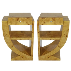 Casa Padrino Art Deco Beistelltisch Set Hellbraun 50 x 40 x H. 75 cm - Wurzelholz Beistelltische mit Schublade - Nachttische - Luxus Qualität